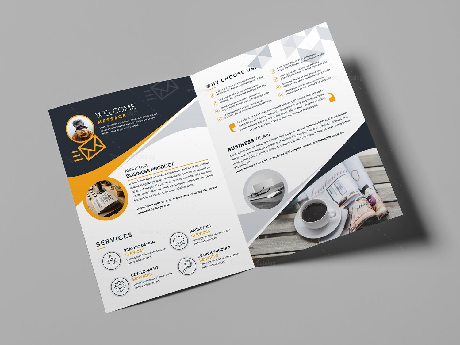 Bi fold business brochure template template catalog for Foldable booklet template