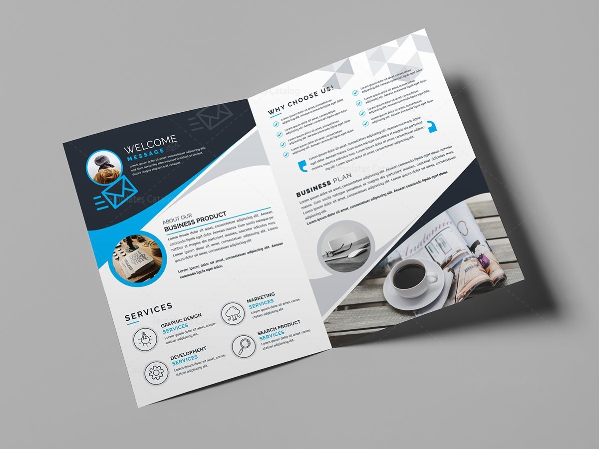 folding brochure template - bi fold business brochure template template catalog