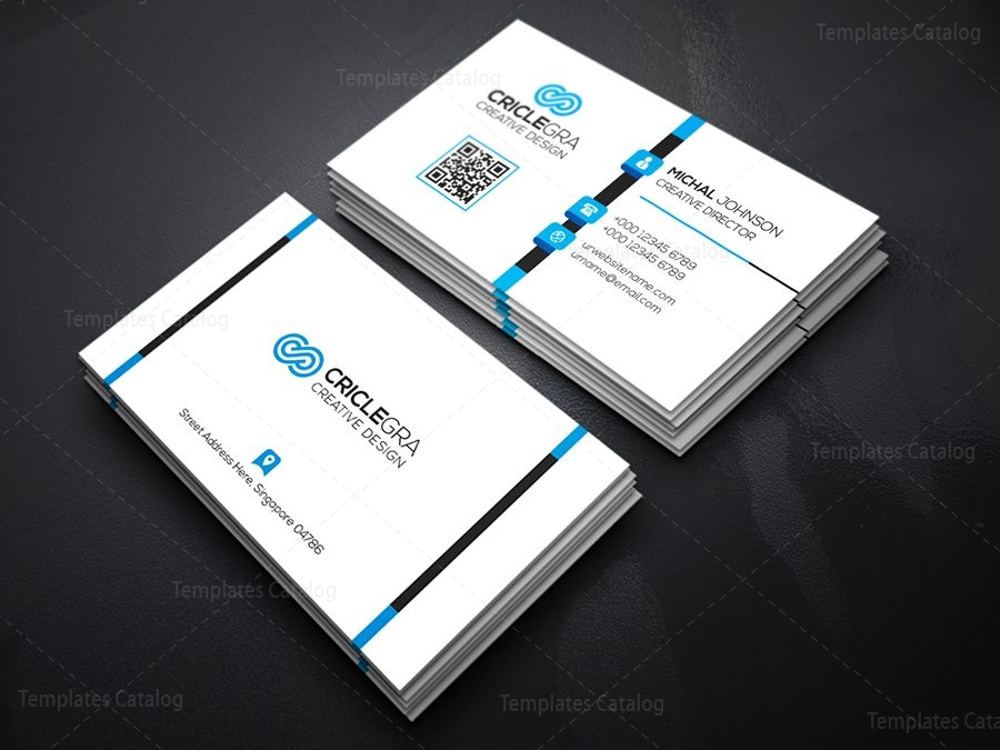 White Business Card Template 000073 Template Catalog