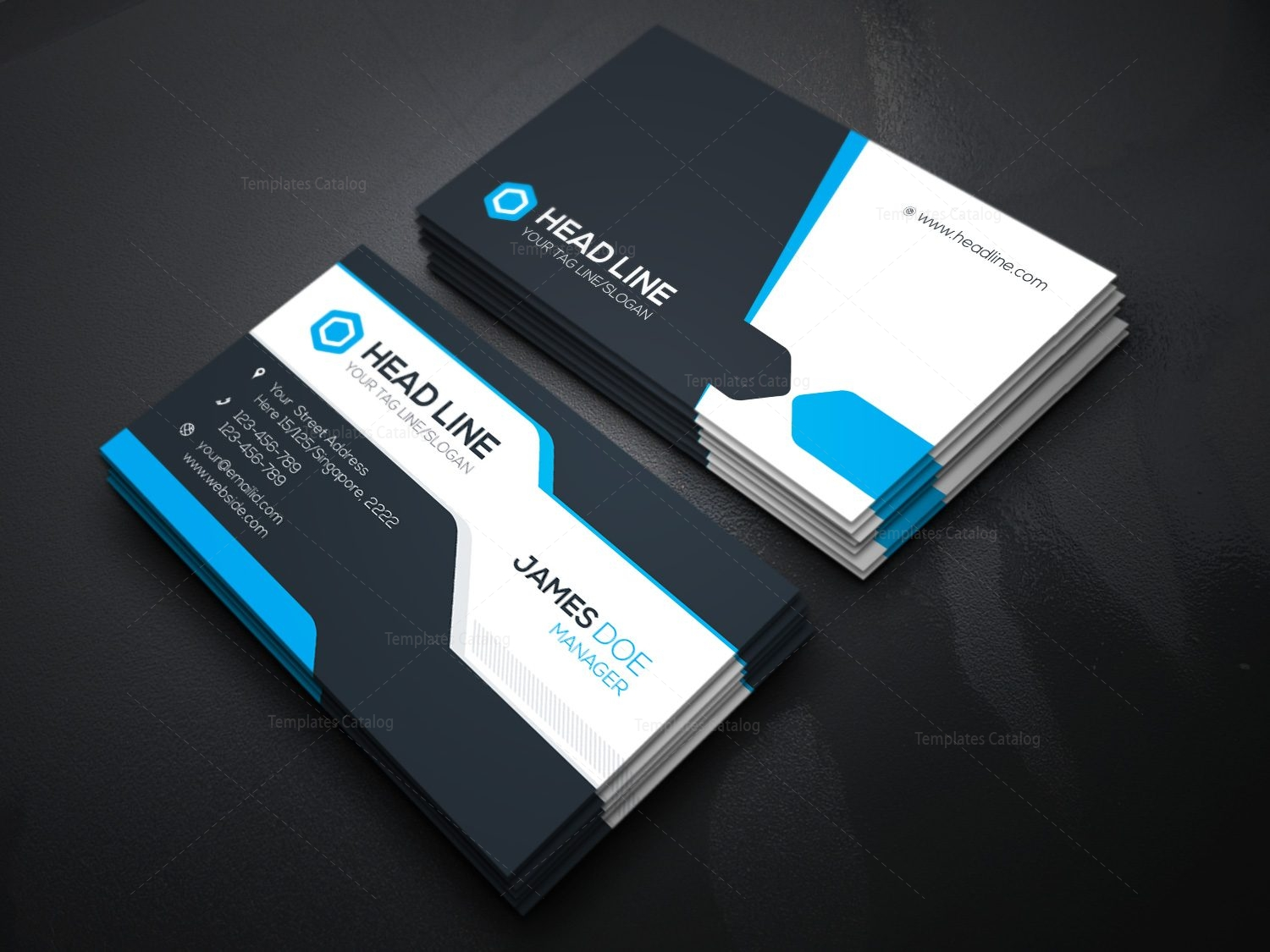 Corporate business card template 000078 template catalog for Busness card template