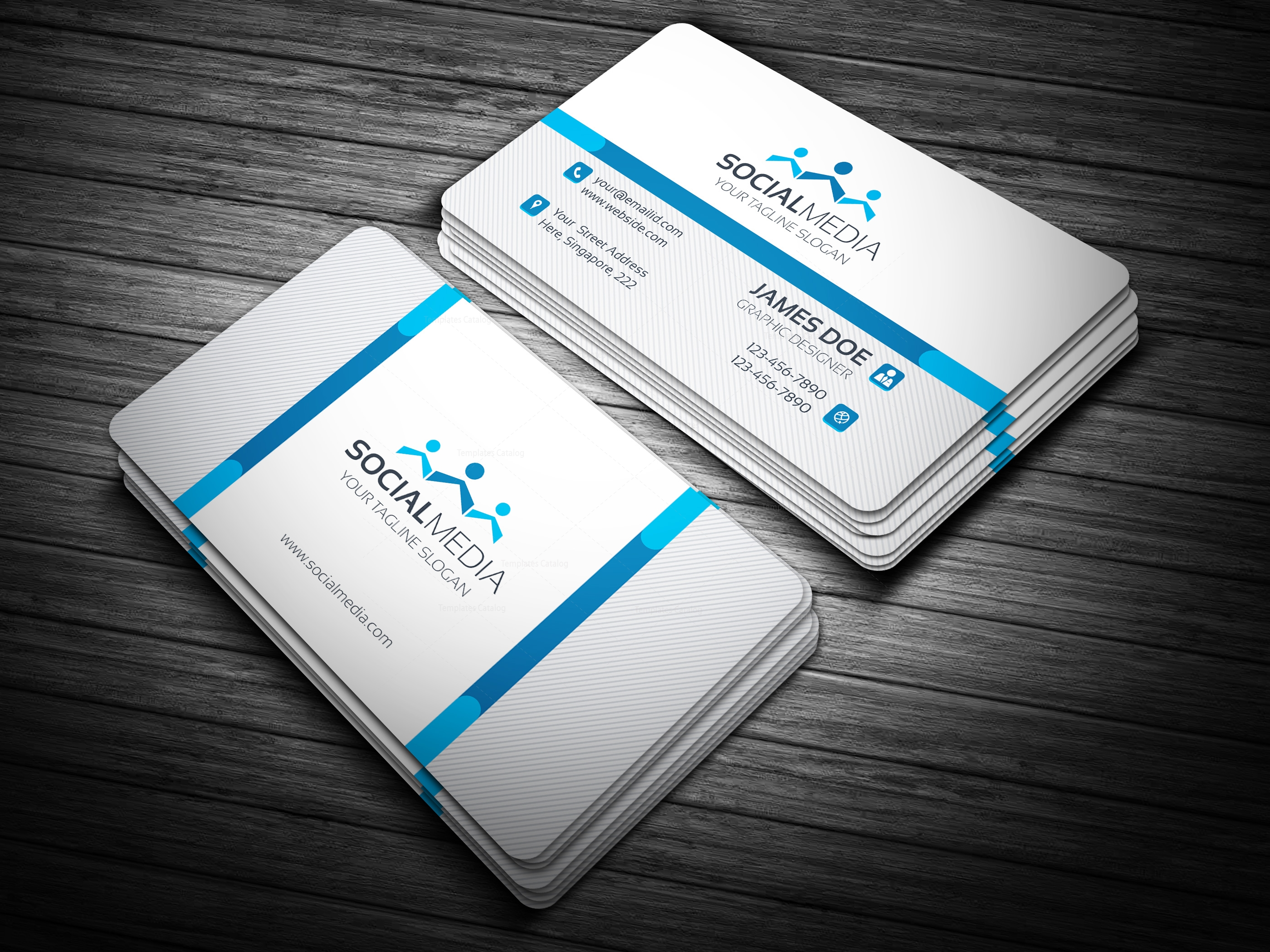 Social Media Business Card Template - Template Catalog