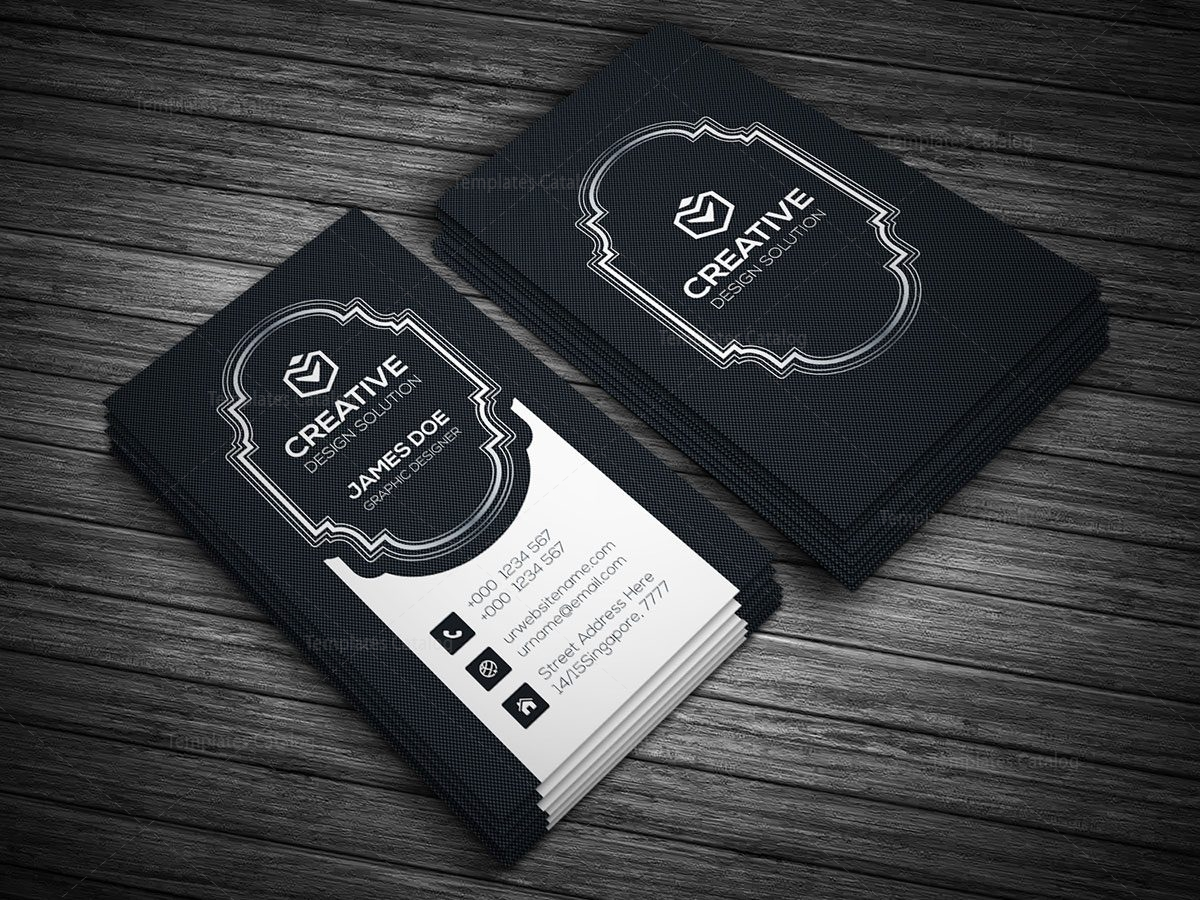 Black Style Vertical Business Card Template 000136 - Template Catalog