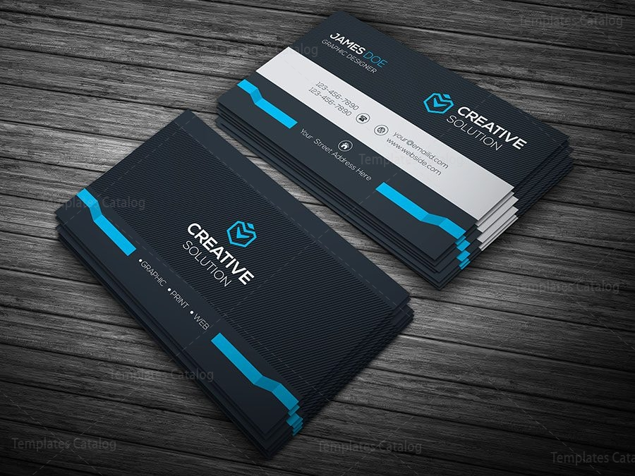 Dark stylish business card template 000109 template catalog dark stylish business card template blue wajeb Choice Image