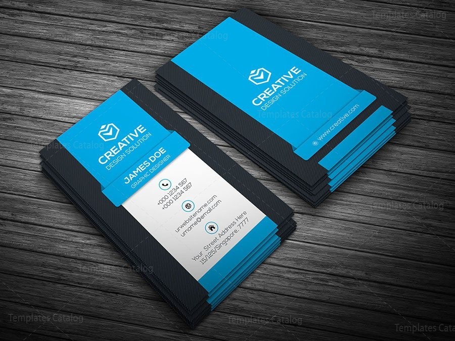 Premium business card template archives template catalog vertical business card template blue wajeb Images