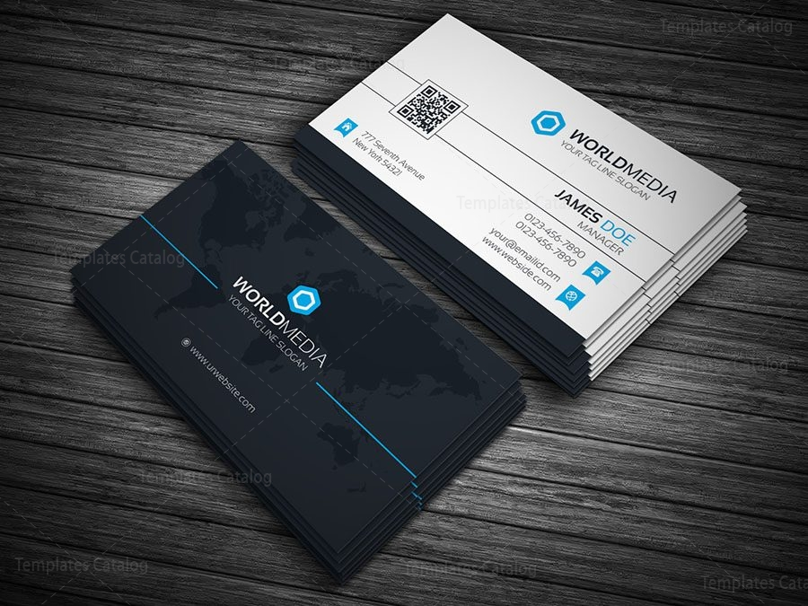 World Media Business Card Template 000140 - Template Catalog