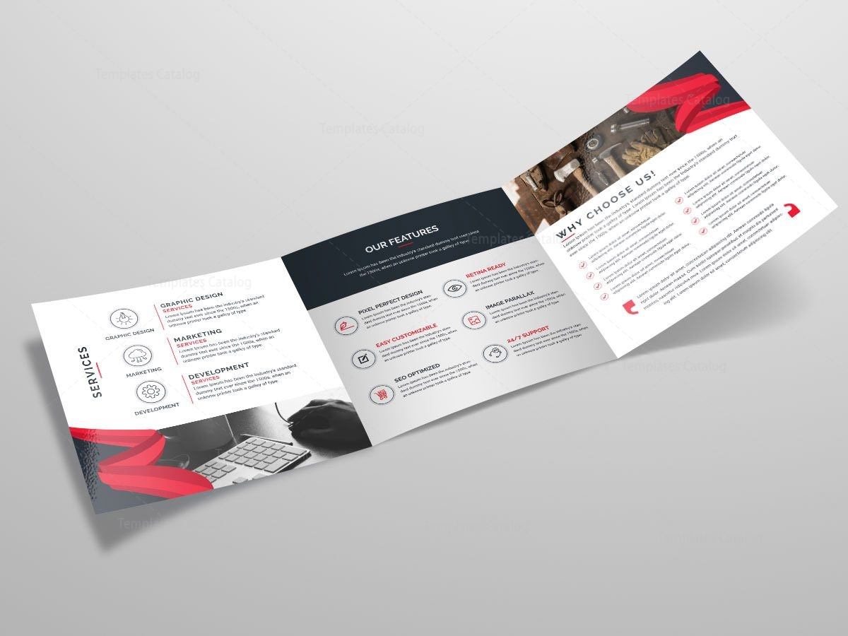 Tri fold stylish business brochure template template catalog for Foldable booklet template