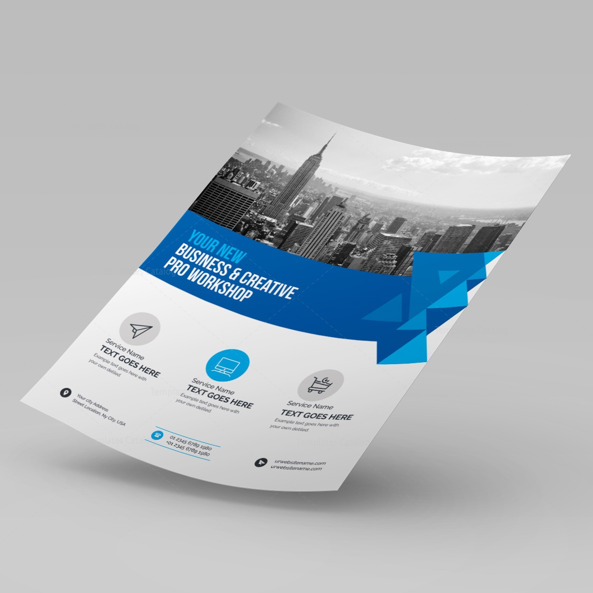 Blue Business Corporate Flyer Template 000231 Template Catalog