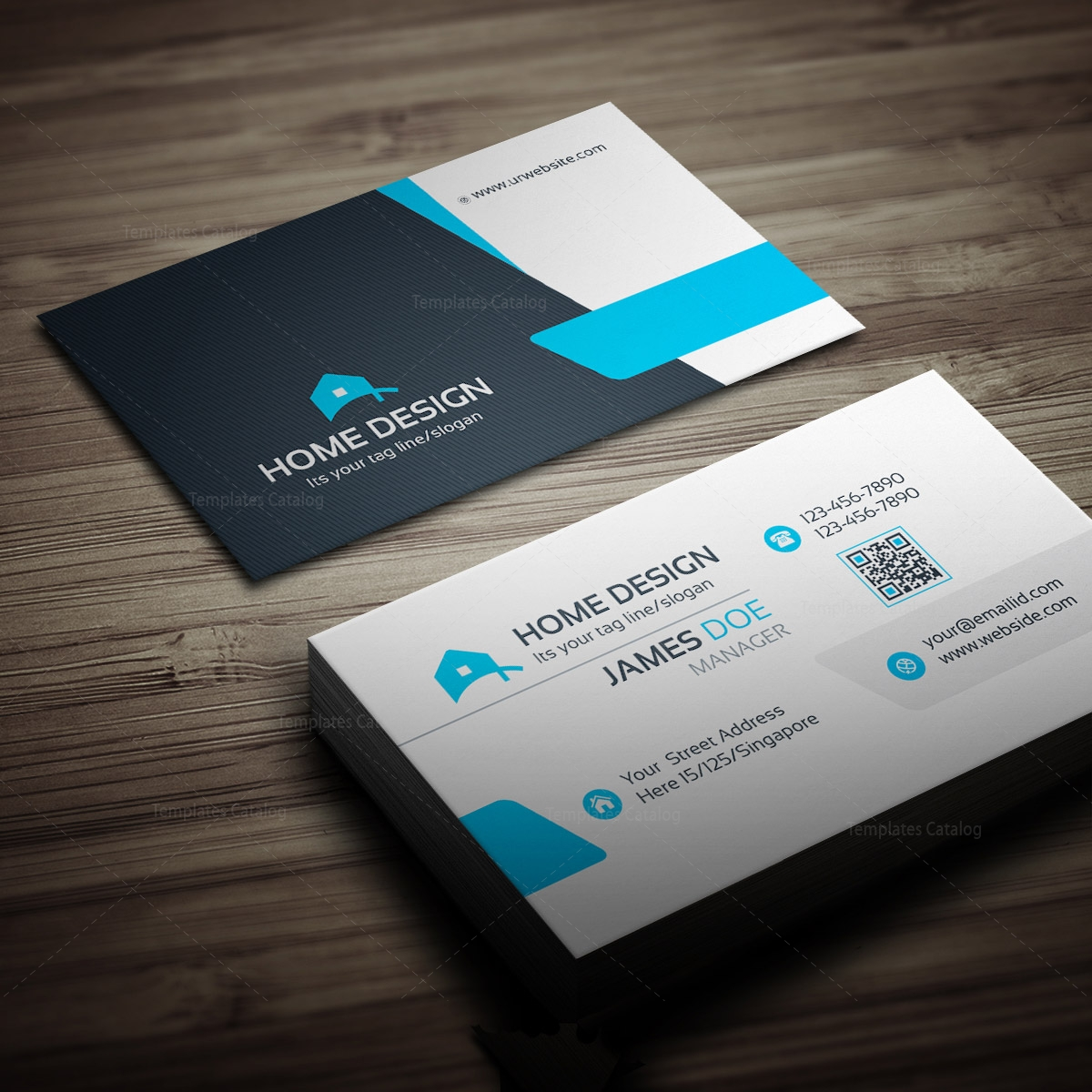 Home design business card template 000258 template catalog for Template for business card