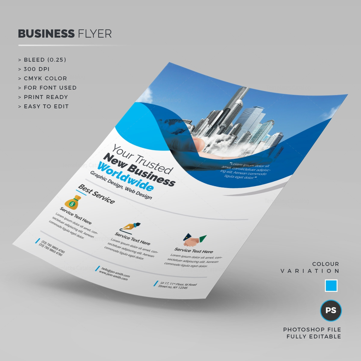 Photoshop corporate business flyer 000227 template catalog for Brochure templates for photoshop