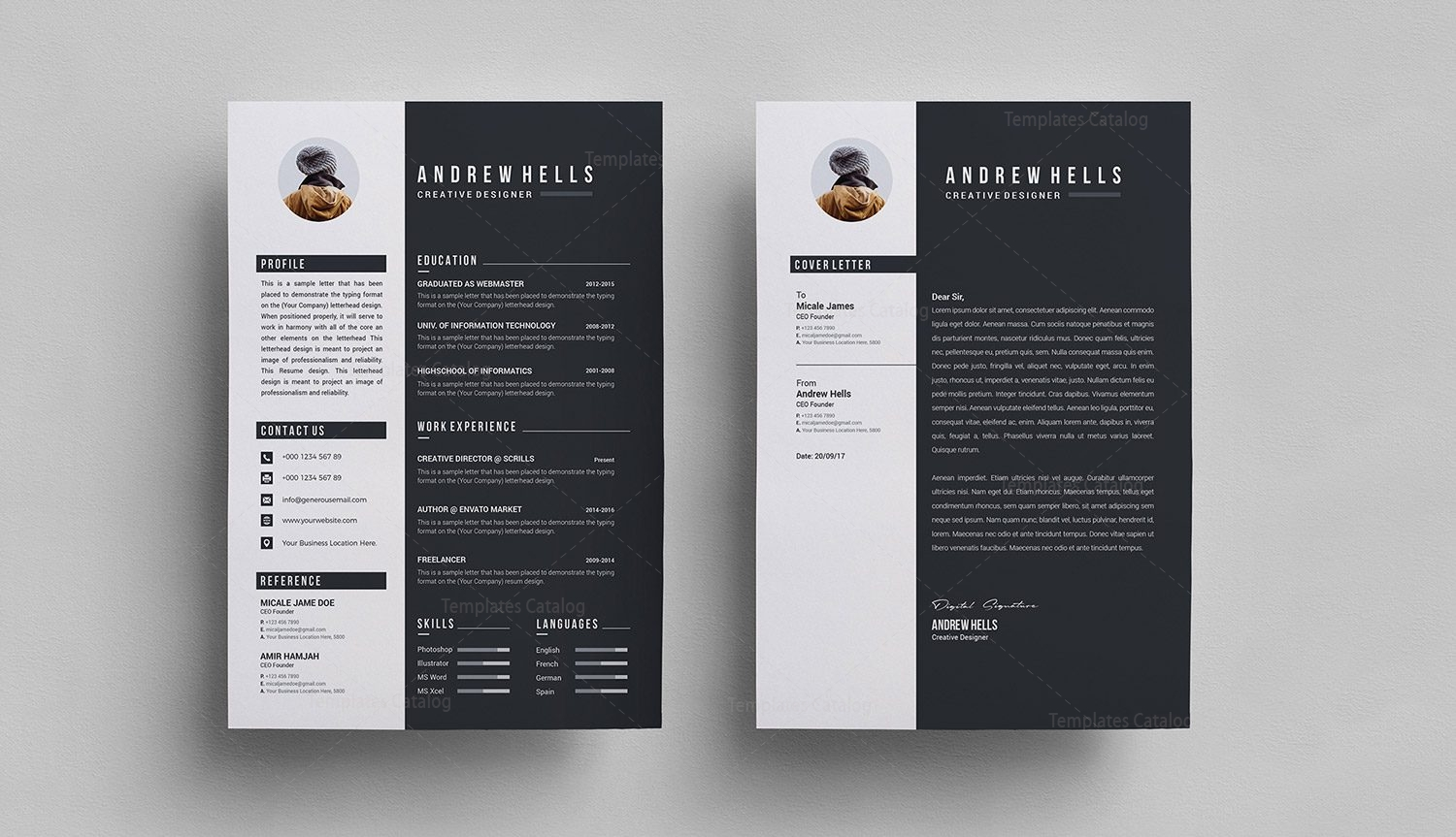 black white resume template 000290