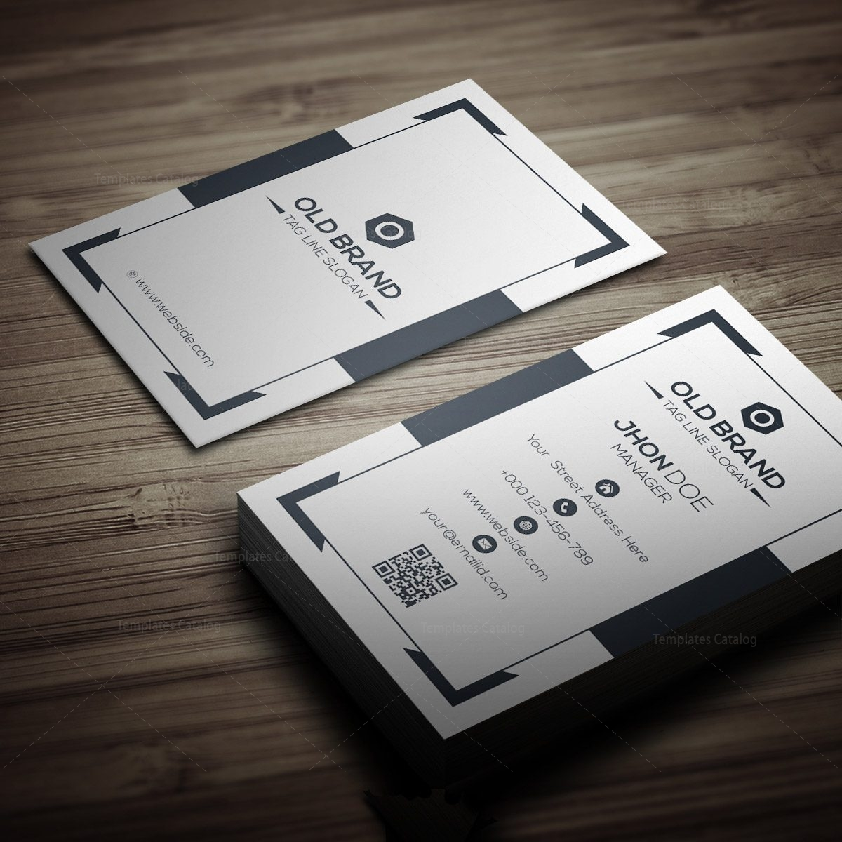 Classic Vertical Business Card Template 000271 - Template Catalog
