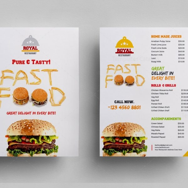 Food Menu Flyer Template   Template Catalog
