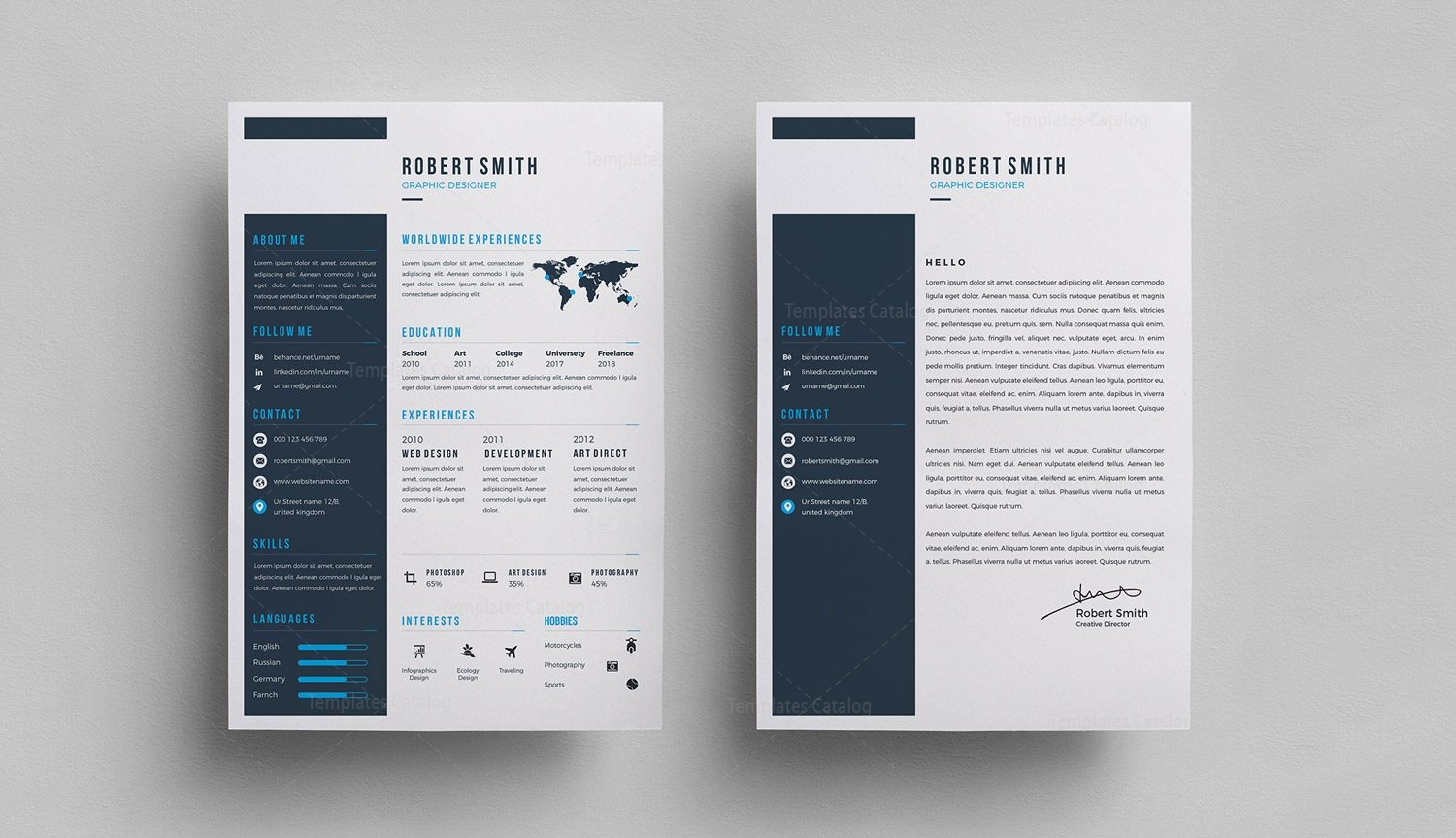 Sleek PSD Resume Template 000295 - Template Catalog