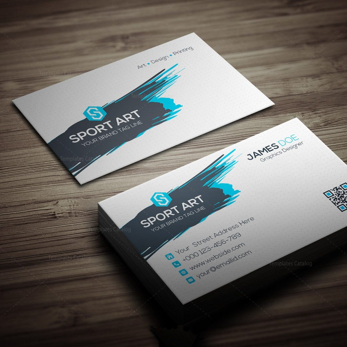 Sport Art Business Card Template 000267 - Template Catalog
