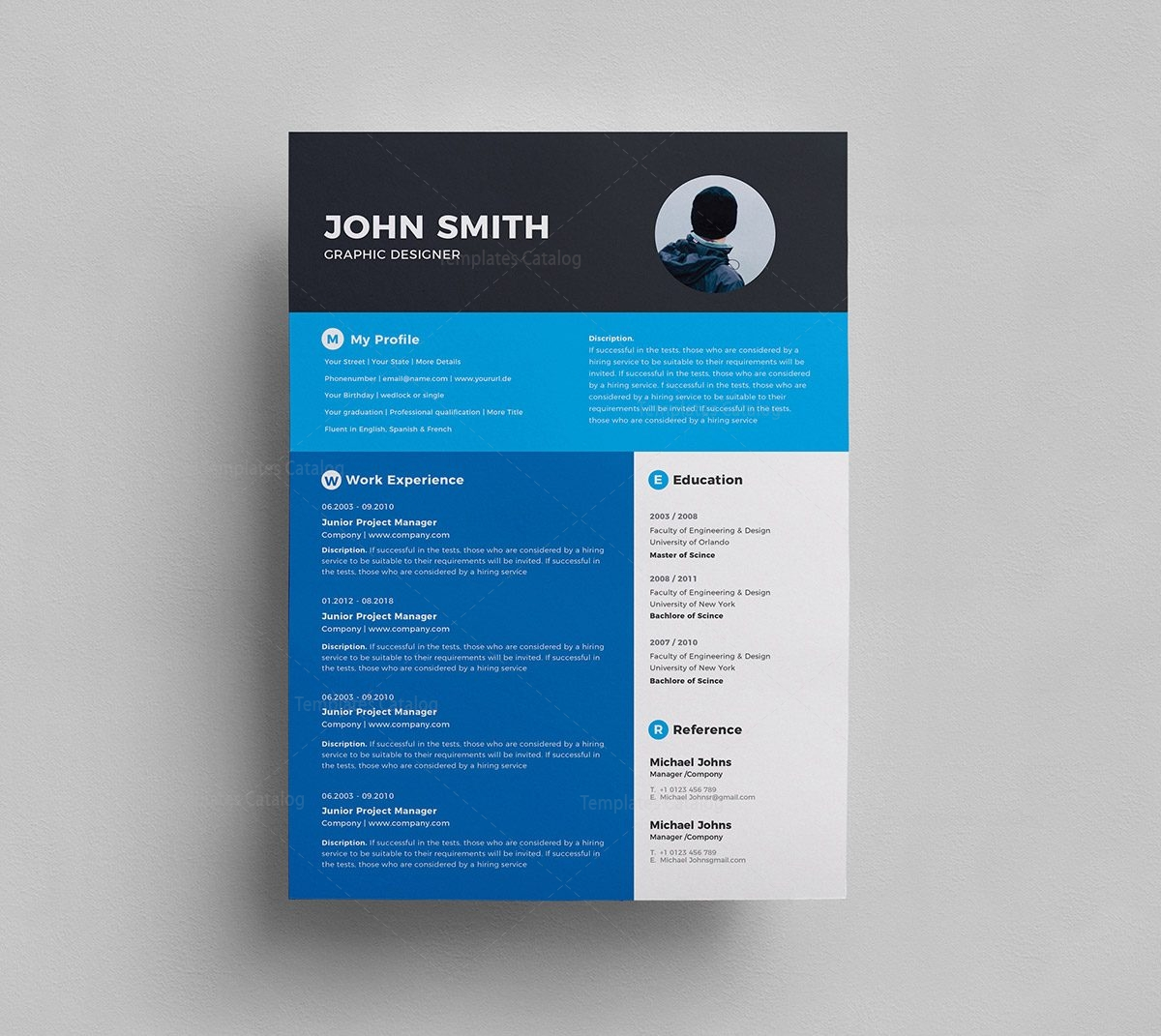 Stylish Resume Template 000293 - Template Catalog
