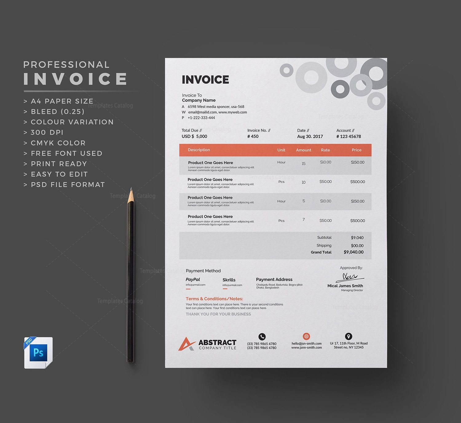 Clean Invoice Template 000332 - Template Catalog