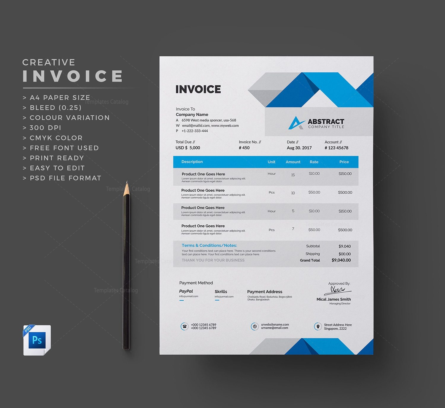 Company Invoice Template Template Catalog - Corporate invoice template