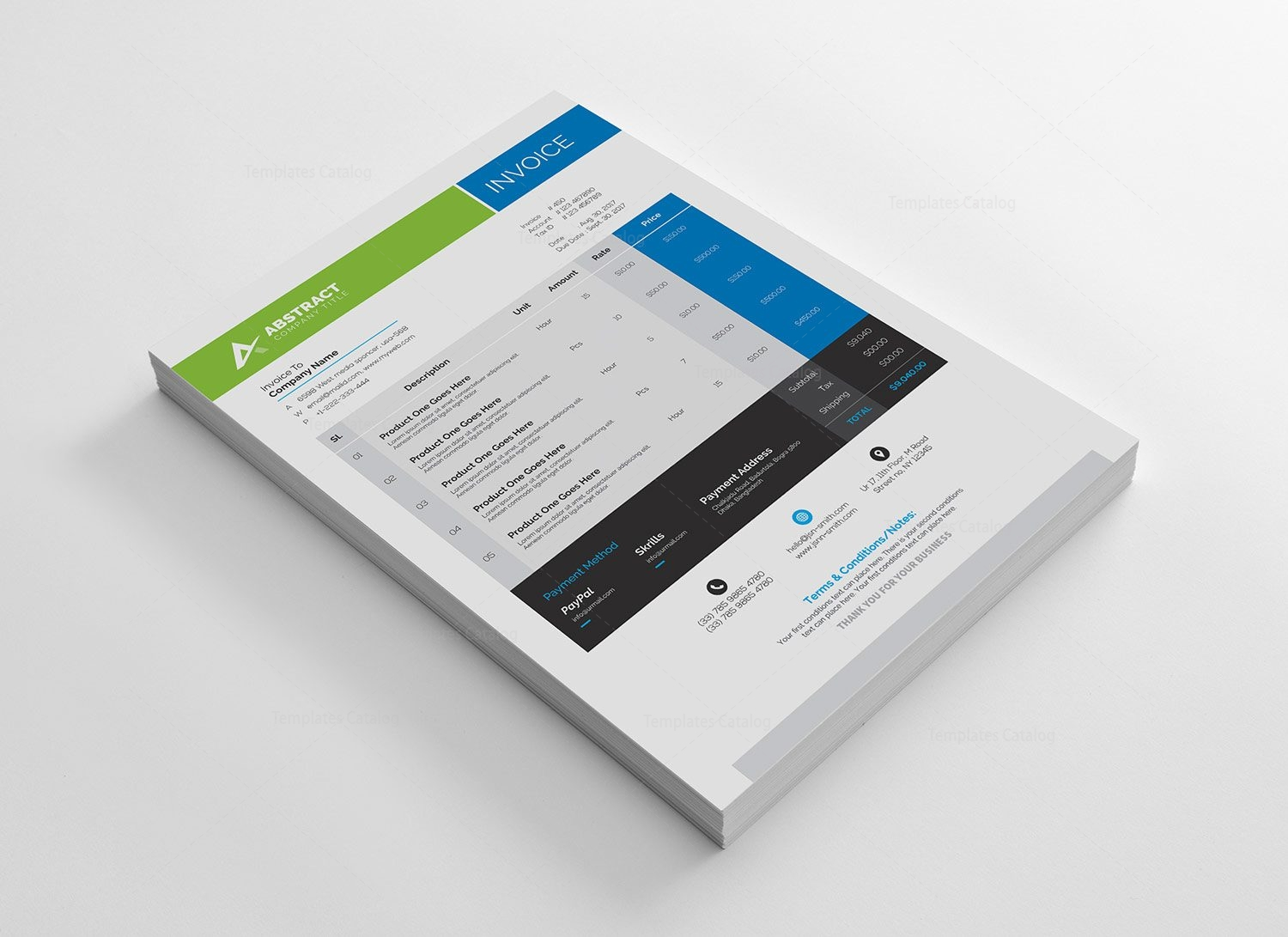 corporate invoice template 000330 - template catalog, Invoice templates