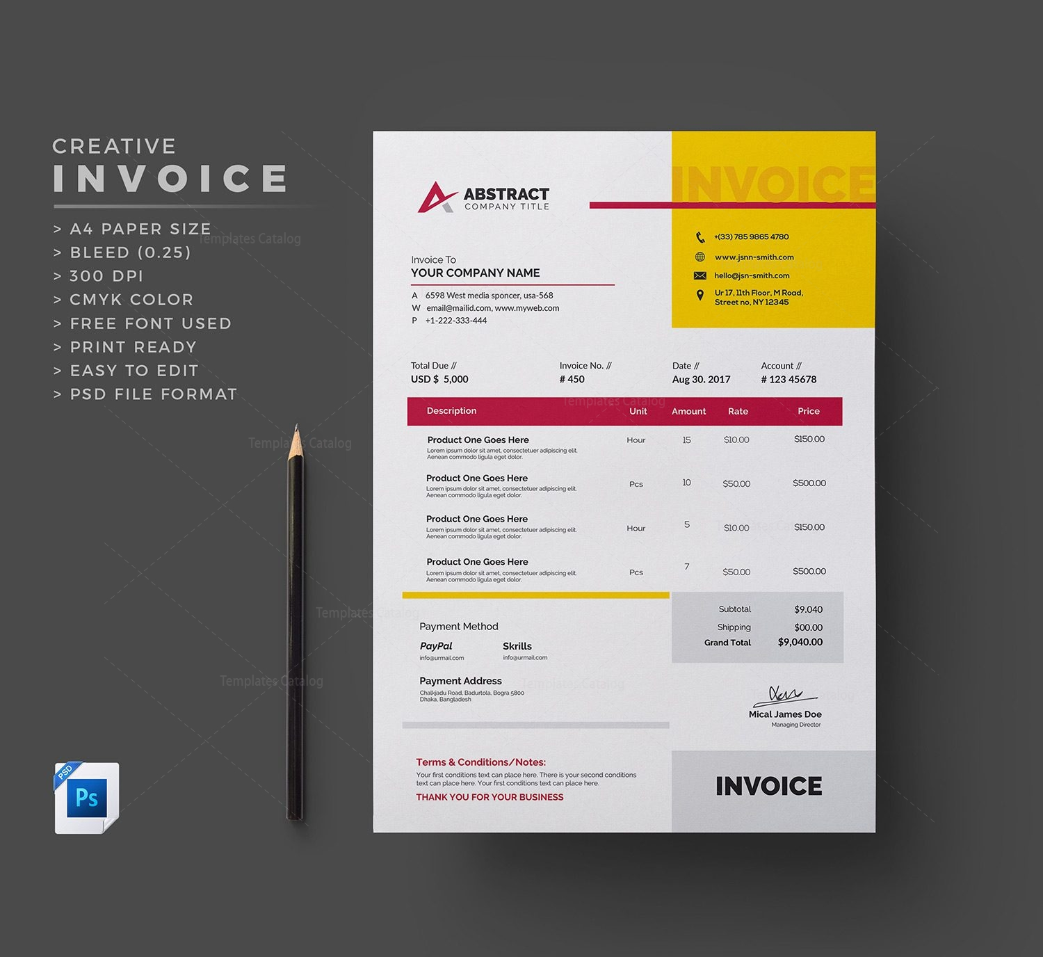 Free Invoice Template 000336 - Template Catalog