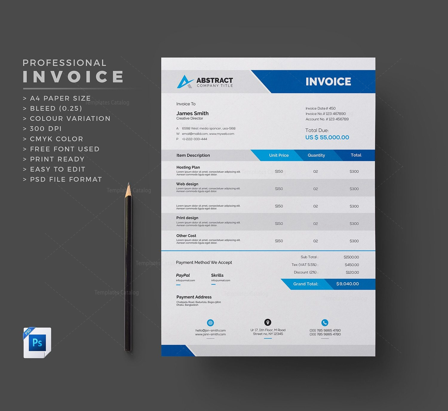 PSD Invoice Template Template Catalog - Psd invoice template