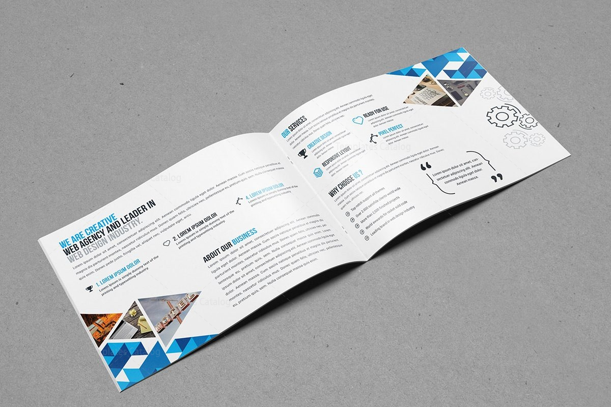 Bi fold brochure template with classy style 000399 for Foldable booklet template