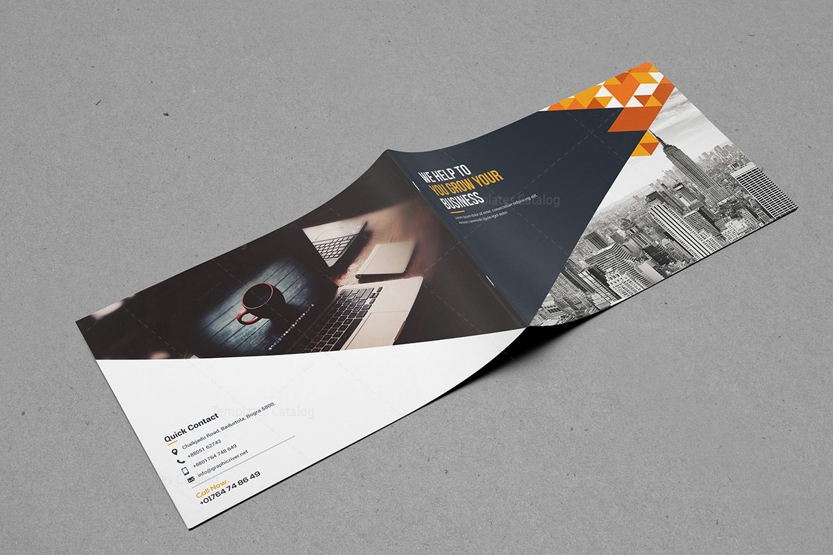 Bi-Fold Brochure Template with Classy Style 000399 - Template Catalog
