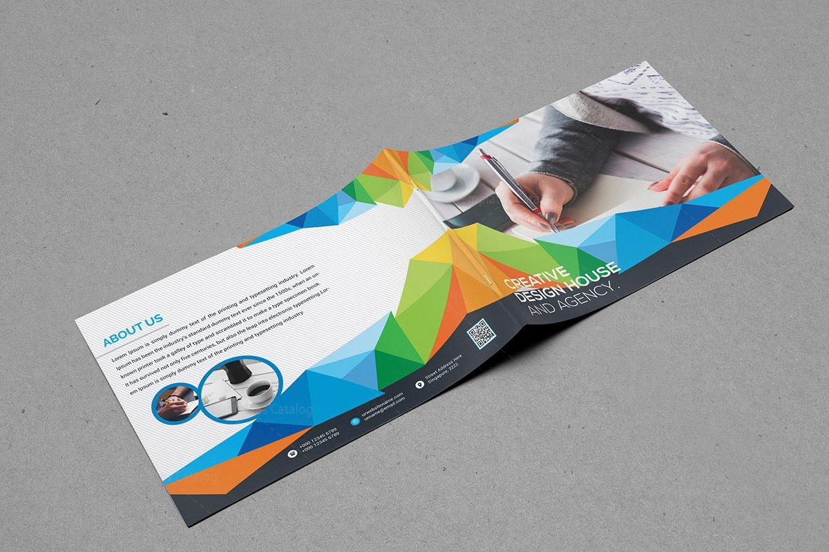 Colorful landscape bifold brochure template 000395 for Colorful brochure