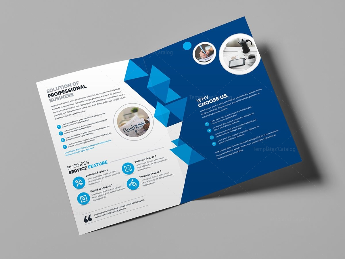 Corporate business bifold brochure template 000437 for Brochure samples templates