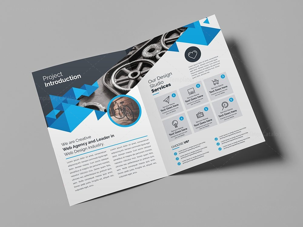 Corporate company bifold brochure template 000436 for Company brochure template