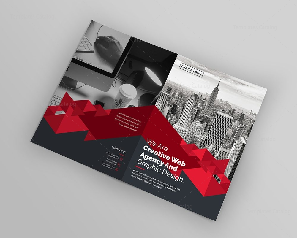 templates for flyers and brochures - corporate company bifold brochure template 000436