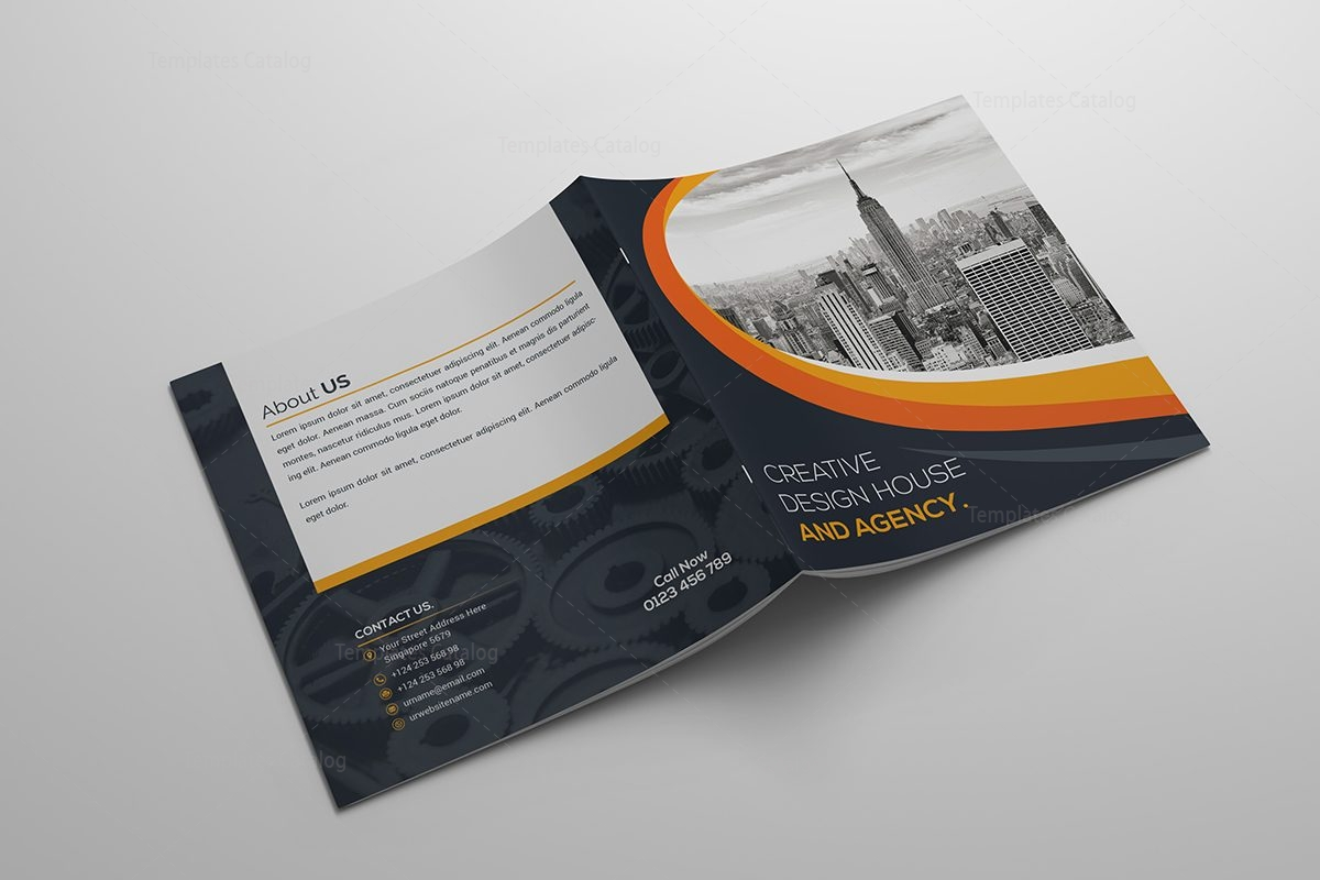 Elegant square bi fold brochure template 6 template catalog for Elegant brochure templates