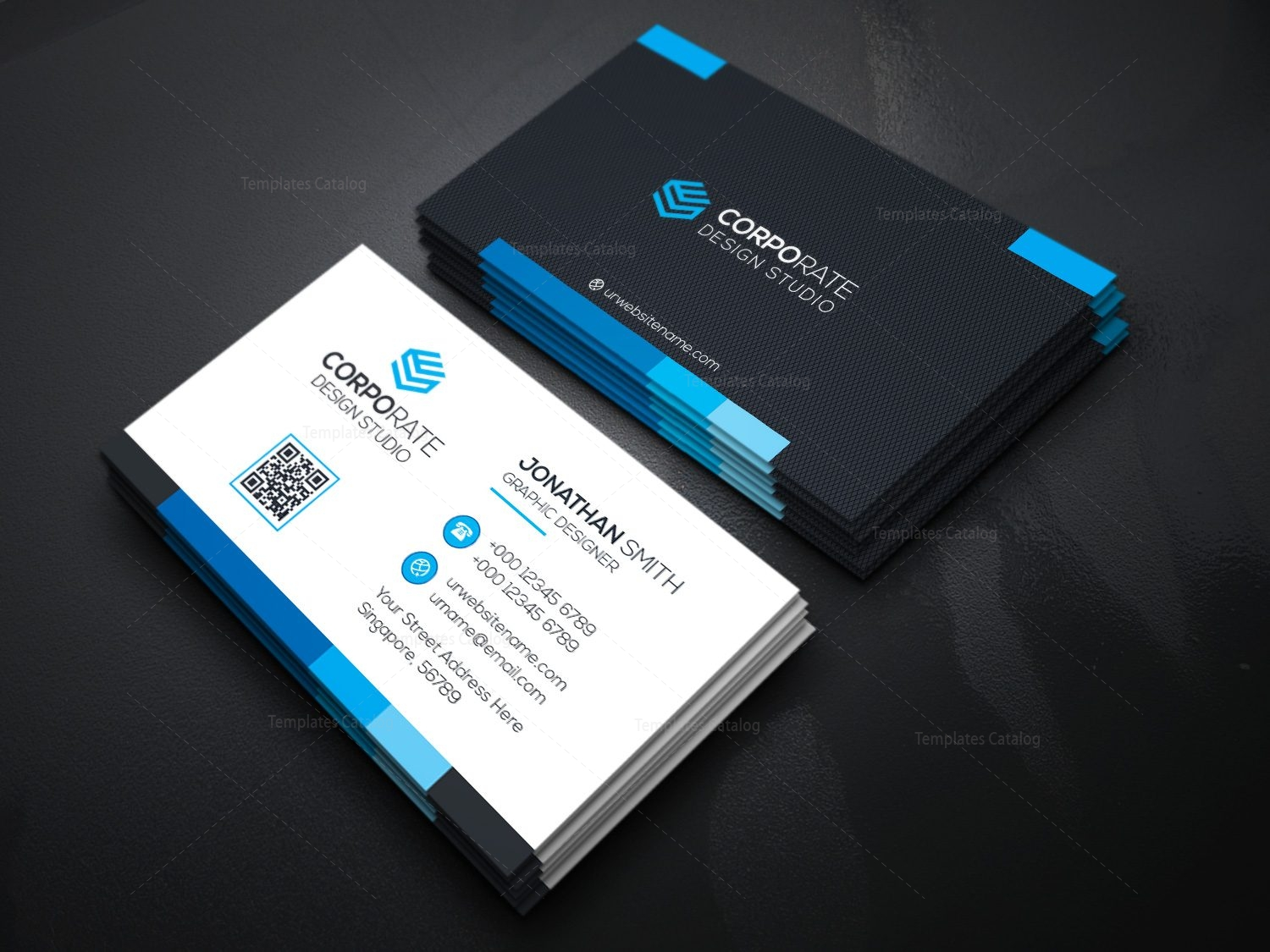 Innovative business card template 000362 template catalog for Busniess card template