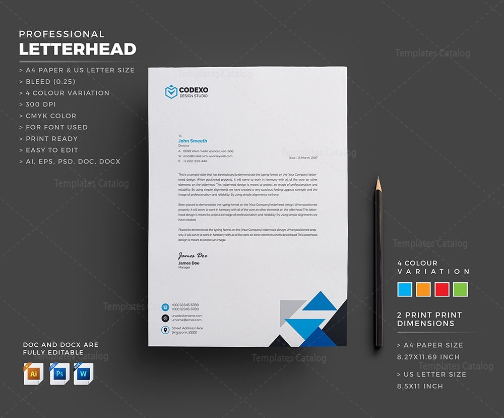 Letterhead Template for Companies 000405 - Template Catalog