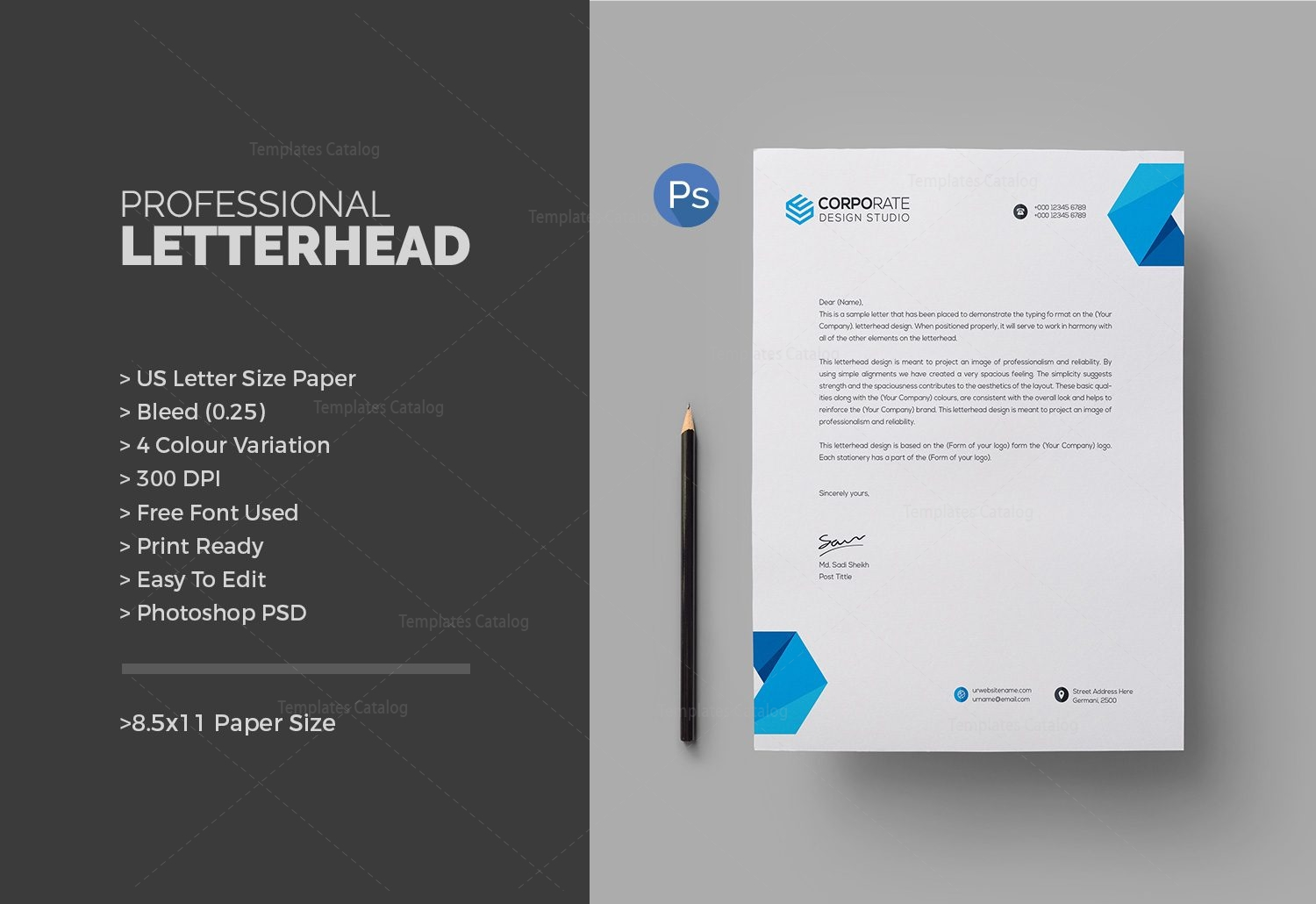 Corporate letterhead corporate letterhead design free download on behance corporate letterhead for Stationery templates psd