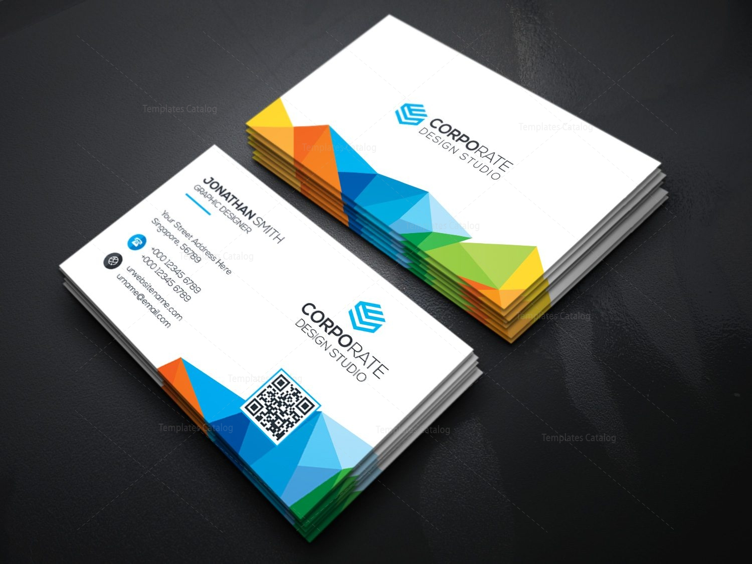 Rainbow business card template 000361 template catalog rainbow business card template 2 wajeb