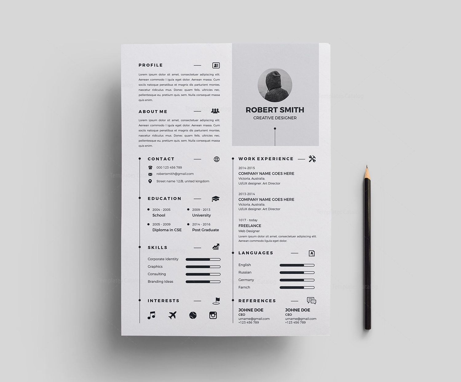 Resume Template in Multiple Formats 000380 Template Catalog