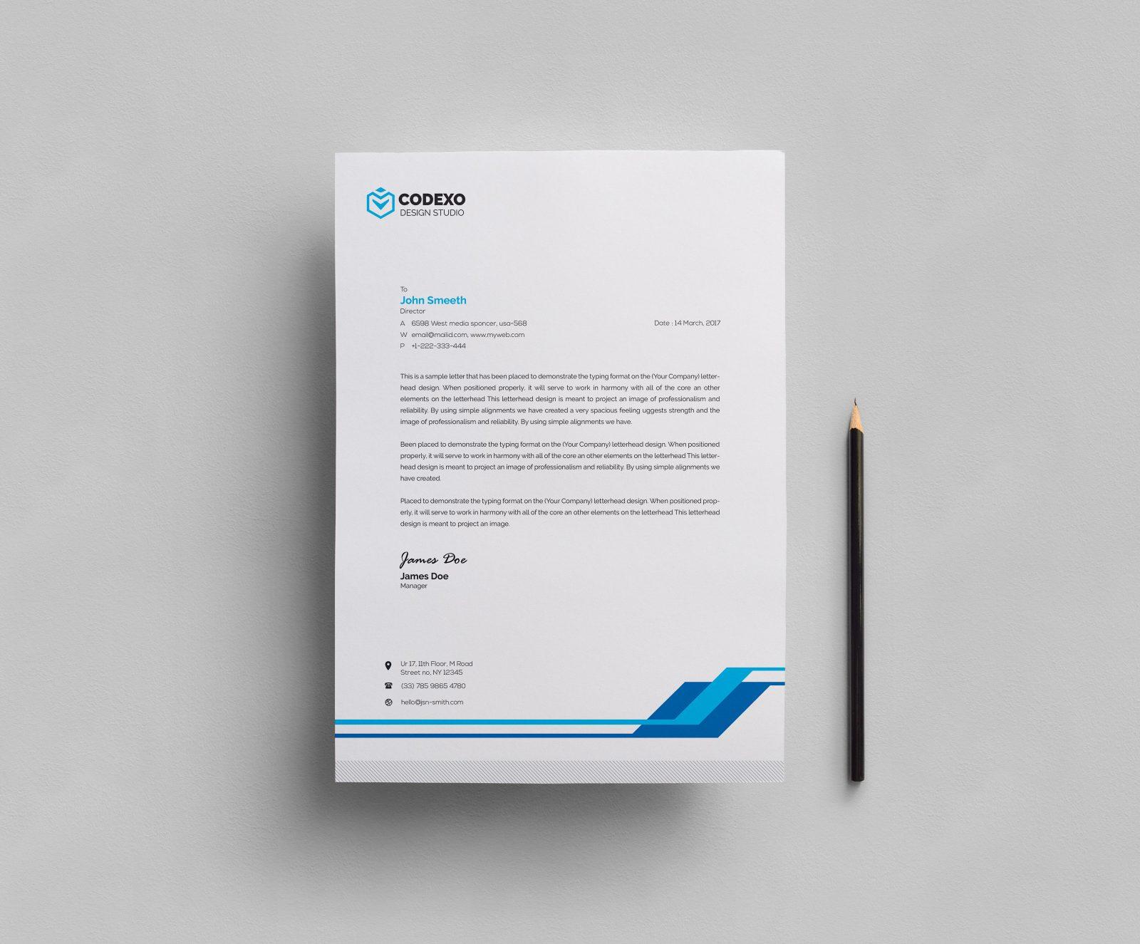 simple corporate letterhead template 000409