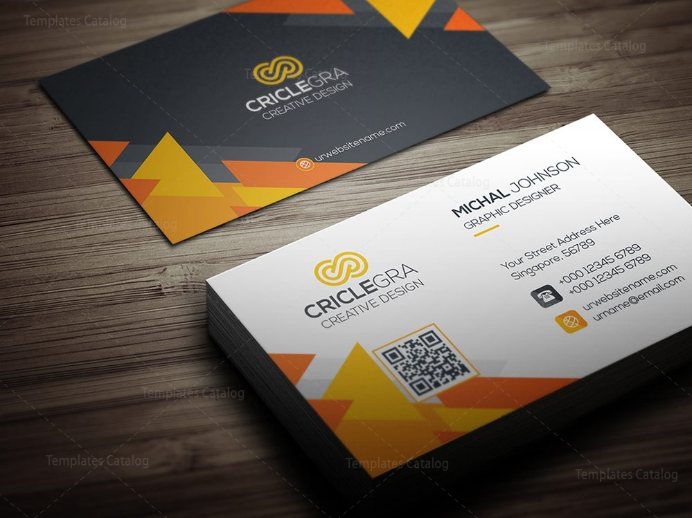Business Card Template with Triangle Shapes 000461 - Template Catalog