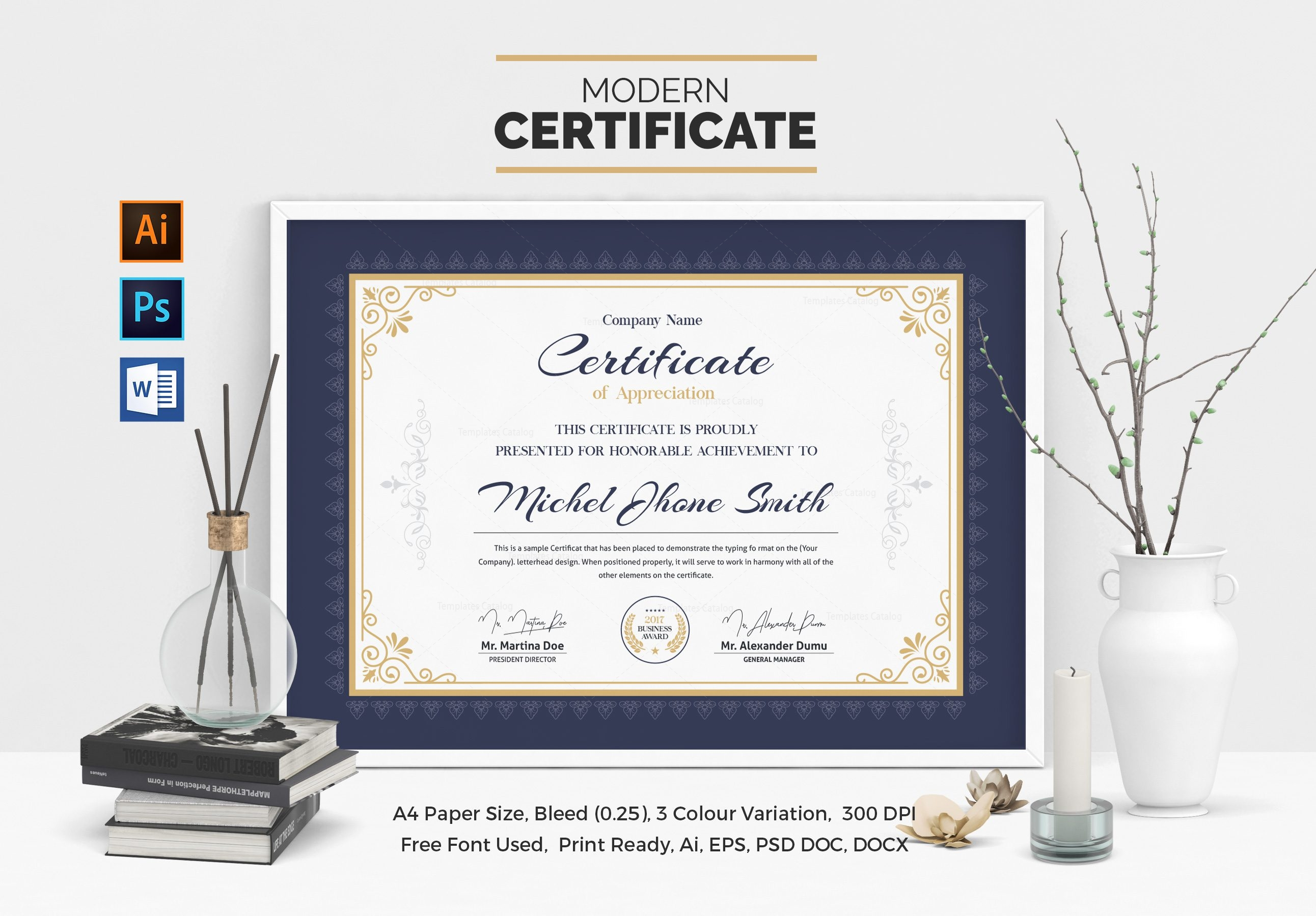 Free certificate template modern image collections certificate classic certificate template 000506 template catalog xflitez Images