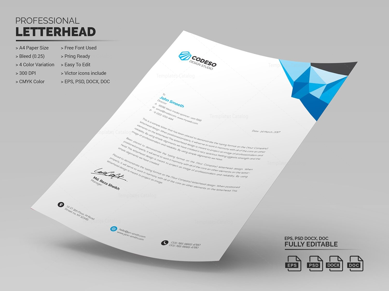 Clean letterhead design 000500 template catalog Create a blueprint