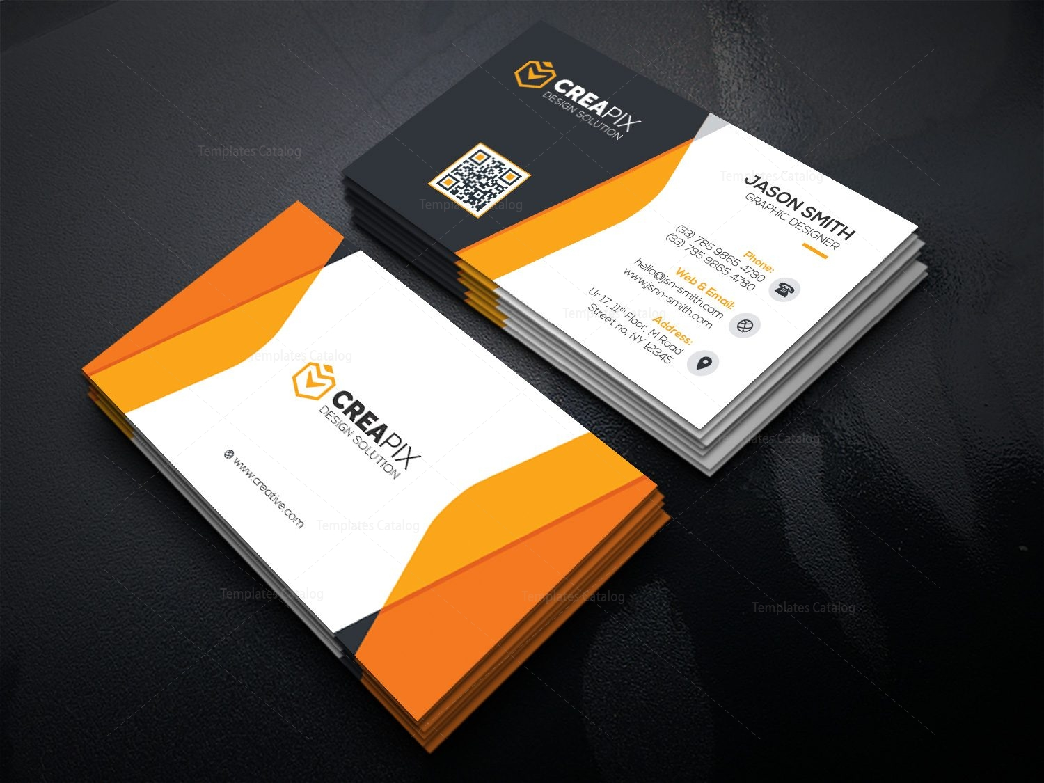 Elegant Business Card with Perfect Design 000515 - Template Catalog