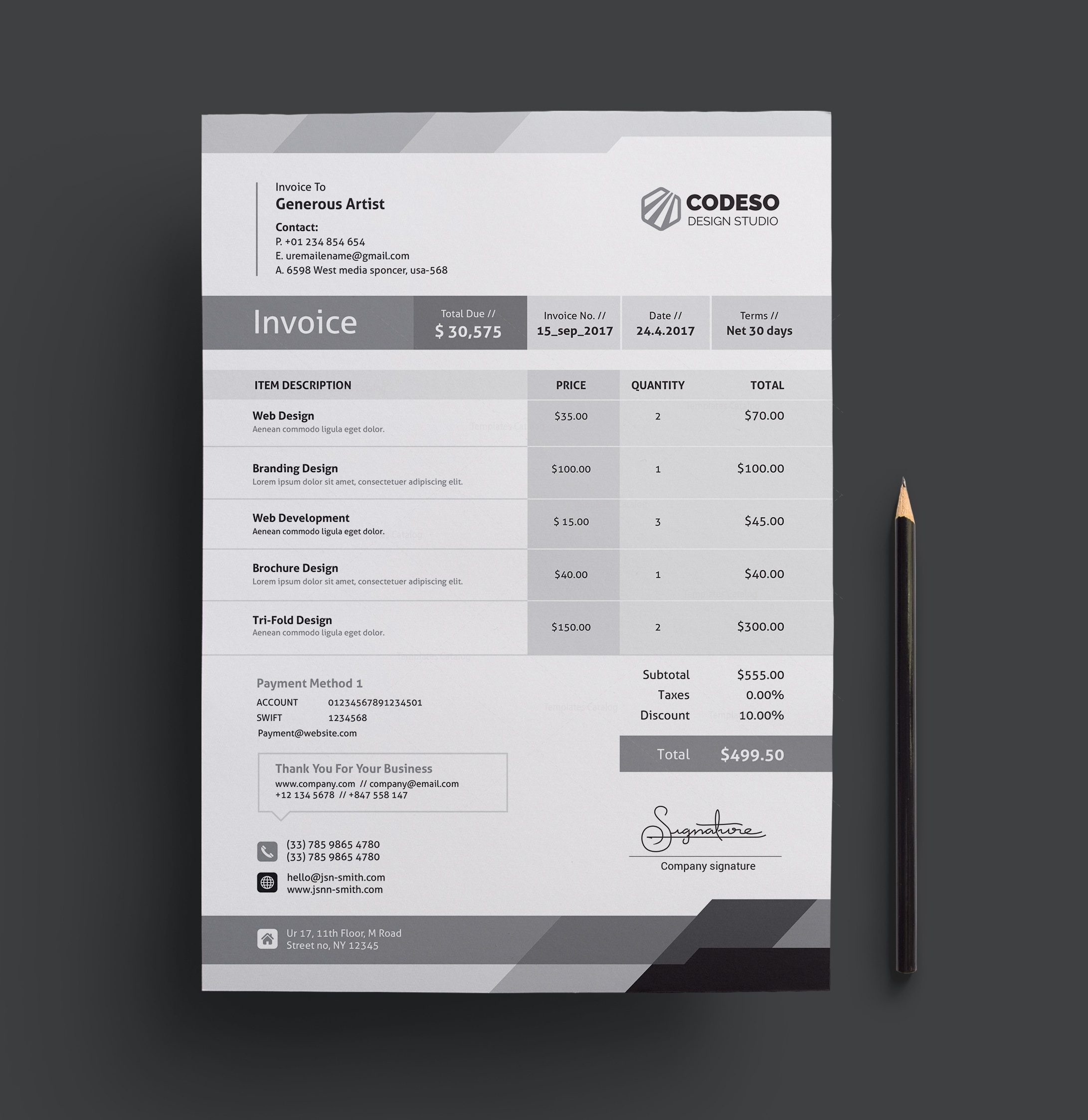 Elegant Corporate Invoice Template Template Catalog - Corporate invoice template