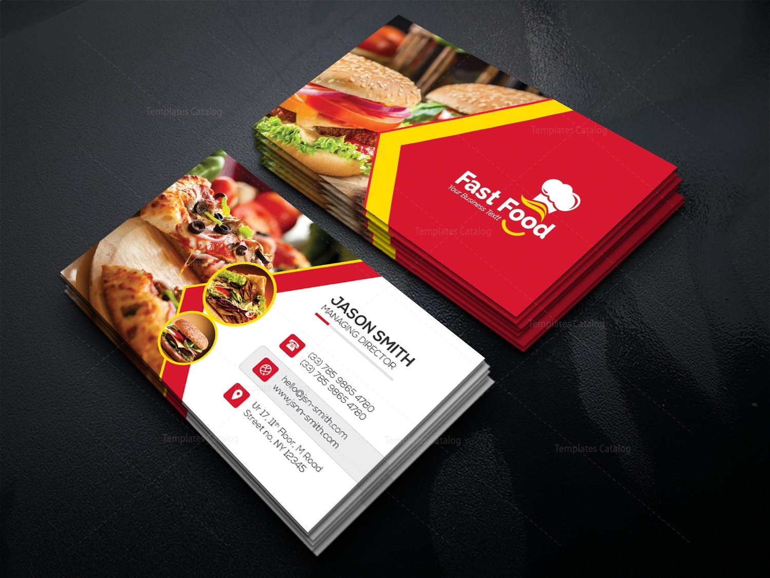 Fast food business card template 000511 template catalog fast food business card template friedricerecipe Choice Image