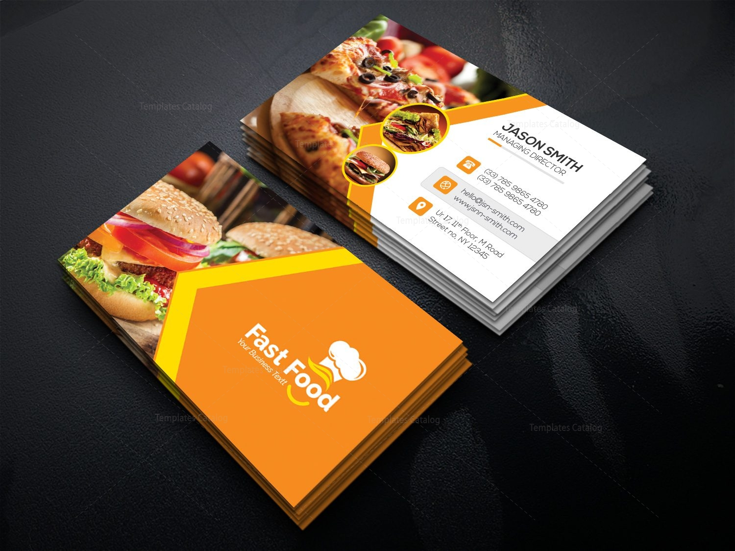 Fast Food Business Card Template 000511 - Template Catalog