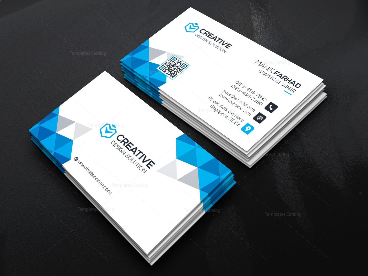 item template with catalog business shapes modern card diamond