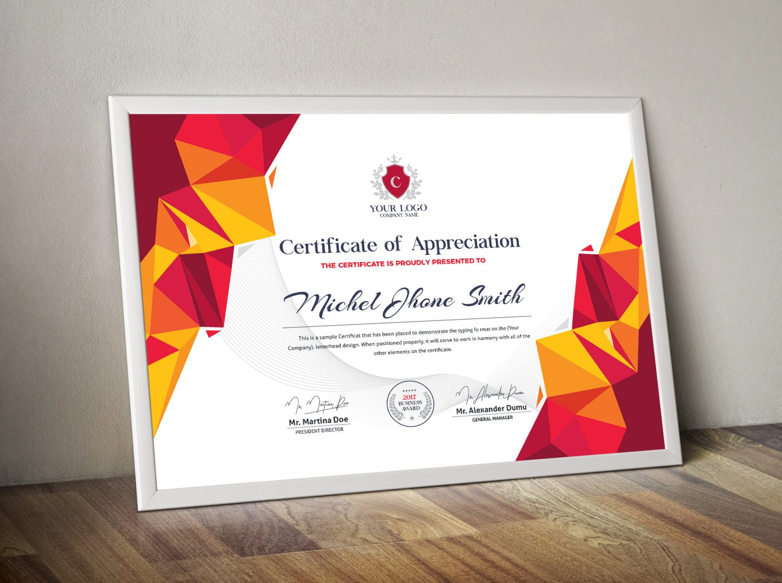modern certificate sample 000502