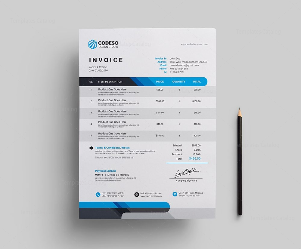 Modern Corporate Invoice Template Template Catalog - Modern invoice template