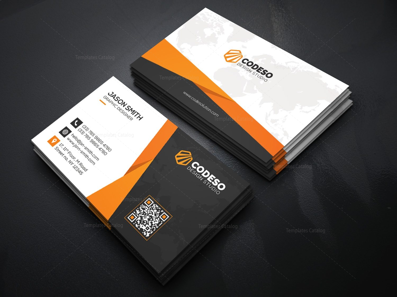 Modern Stylish Business Card Template 000523 - Template Catalog