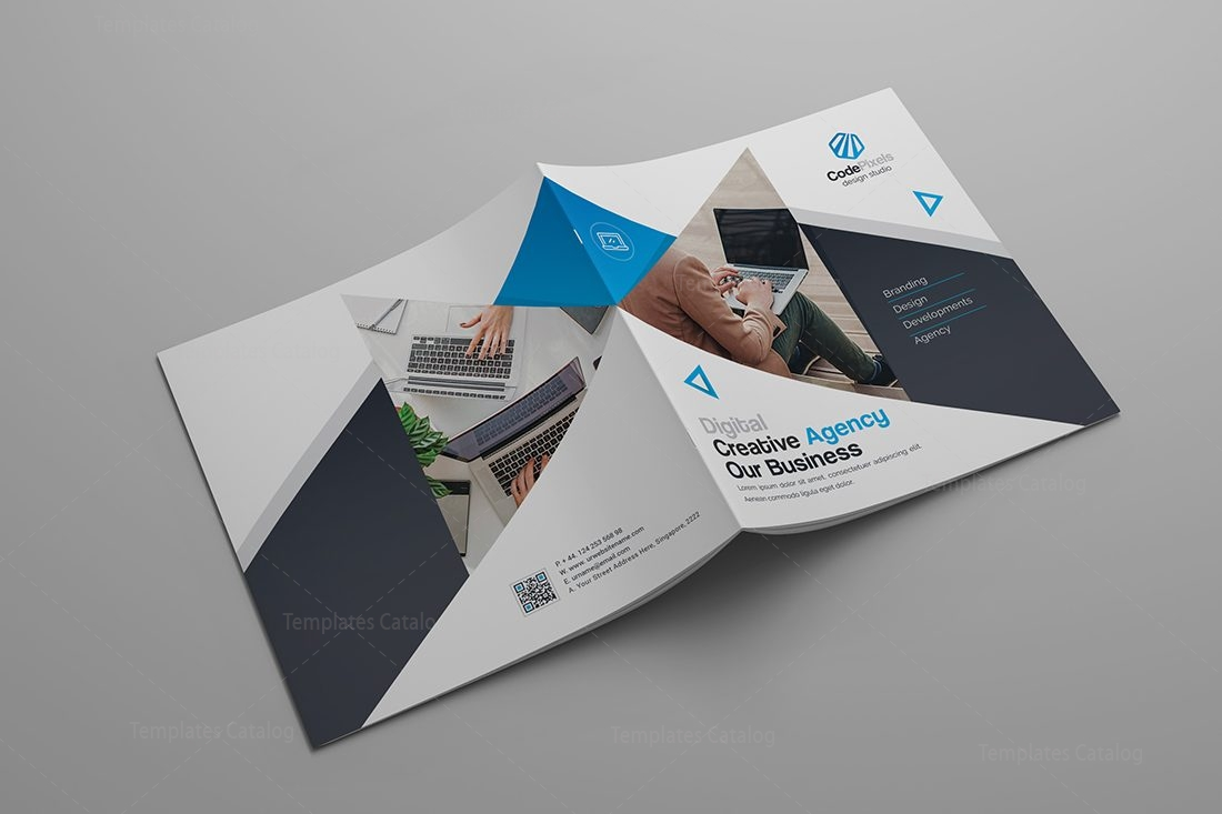 Modern stylish corporate bi fold template 000581 for Corporate bi fold brochure template