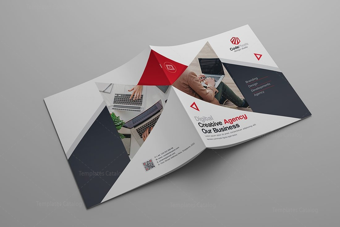 Modern stylish corporate bi fold template 9 template catalog for Corporate bi fold brochure template